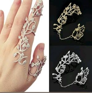 Jewelry - Unique  Two Finger Ring Roses Filgari Silver Gold
